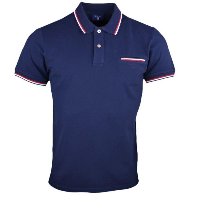 Gant - Polo basique bleu marine lisérés rouge et blanc pour homme - pas cher  Achat   Vente Polo homme - RueDuCommerce 00fe3ecdaed