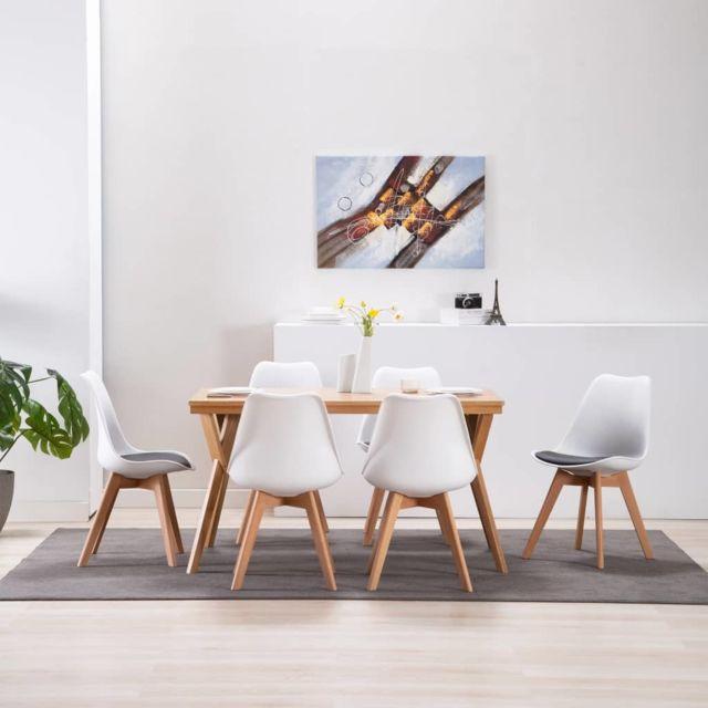 Chic Fauteuils et chaises gamme Oslo Chaises de salle à manger 6 pcs Blanc et noir Similicuir