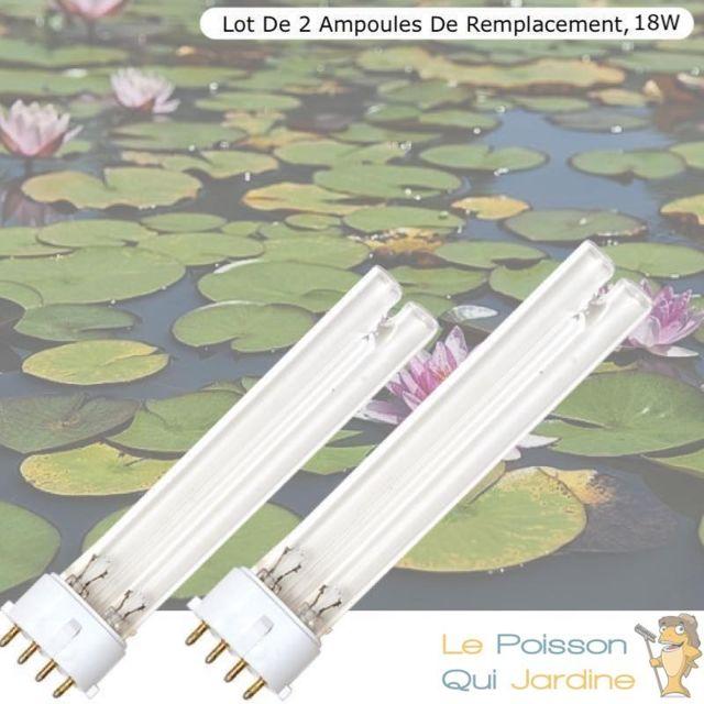 Le Poisson Qui Jardine Lot De 2 Ampoules Uvc De Rechange 18W, Aquarium Ou Bassins De Jardin