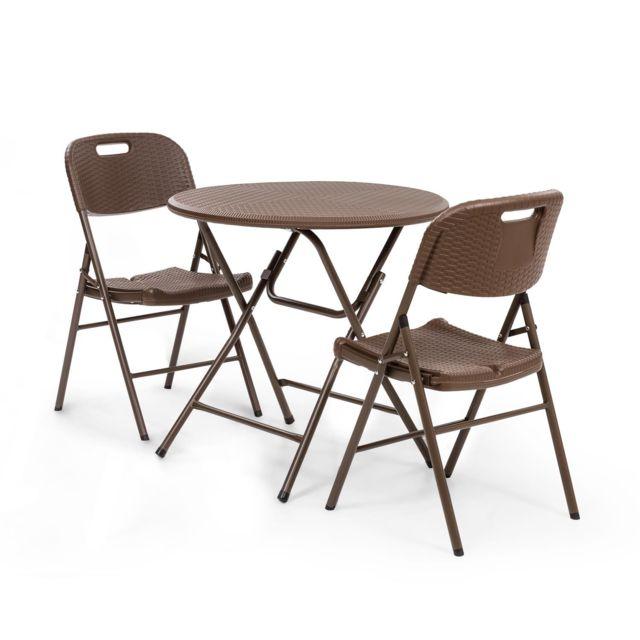 BLUMFELDT Burgos Salon de jardin 3 pieces - Table pliante + 2 chaises - Cadre acier