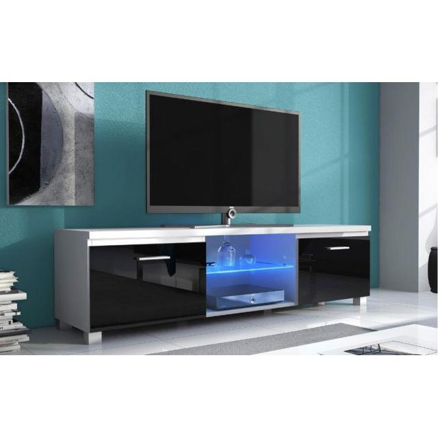 comfort meuble bas tv led s jour blanc mate et noir. Black Bedroom Furniture Sets. Home Design Ideas