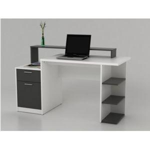 marque generique bureau avec rangements zacharie blanc et gris pas cher achat vente. Black Bedroom Furniture Sets. Home Design Ideas