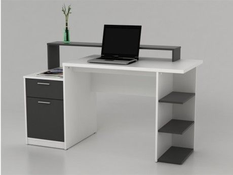 marque generique bureau avec rangements zacharie blanc et gris blanc gris 60cm x 138cm x. Black Bedroom Furniture Sets. Home Design Ideas