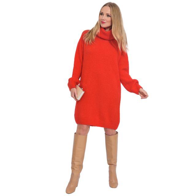 b69567913ef Arty Blush - Robe pull en laine col roulé Idée cadeau Saint Valentin ...