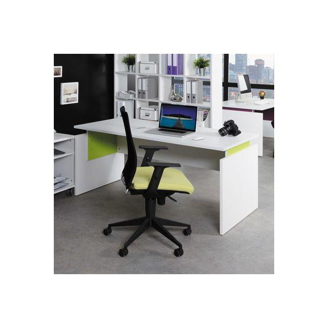bureau professionnel droit 160x80 cm coloris blanc et anis sebpeche31. Black Bedroom Furniture Sets. Home Design Ideas