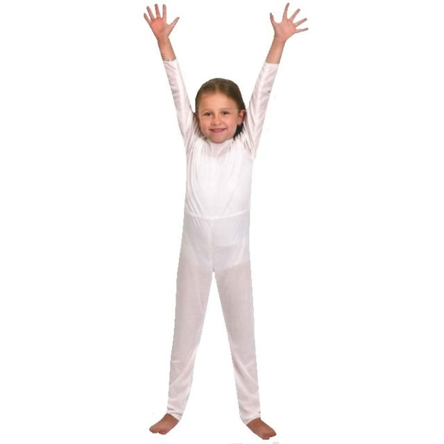 Funny Fashion - Deguisement Body Manche Longue Blanc   Justaucorps 4 ans -  Costume - Fille ca3e20a1585