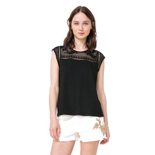 Xénia Shirt Pas T 72t2gd1 Desigual Vente Tee Noir Achat Cher POZkXui