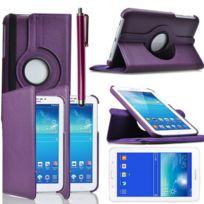 Vcomp - Housse avec support Et Rotation 360° en cuir Pu pour Samsung Galaxy Tab 3 Lite 7.0 T110/ Tab 3 Lite 7.0 Ve Wi-Fi T113/ Tab 3 V T116NU/ Tab 3 Lite 7.0 3G T111 + stylet - Violet