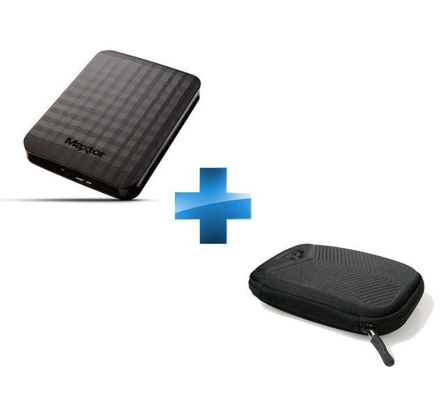 MAXTOR - Disque Dur Externe Portable 2 To USB 3.0 Noir + Housse Chevron noire