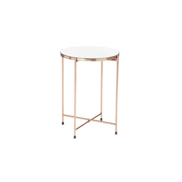 Table gigogne 48x48x61cm avec miroir en métal cuivre