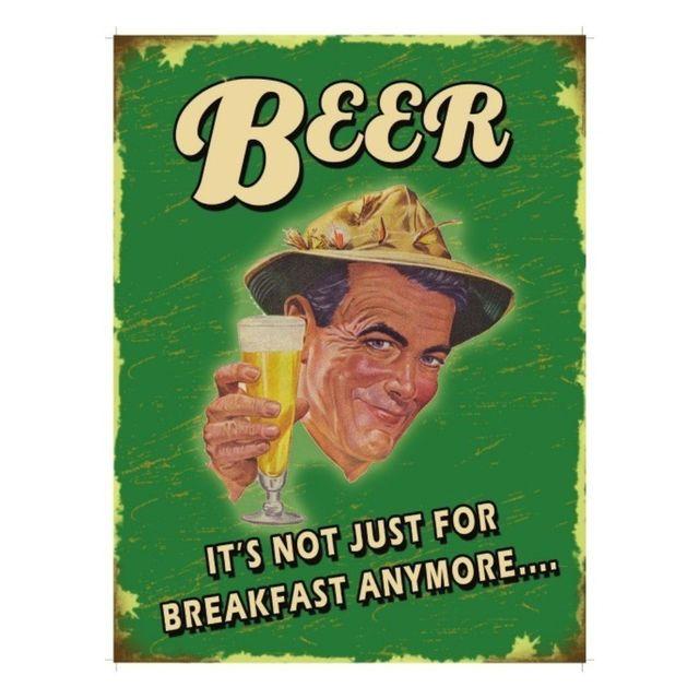 Universel Plaque cuisine beer not just for breakfast tole humoristique