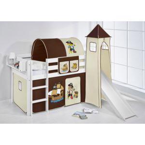 lilokids lit sur lev ludique jelle 90 x 190 cm pirate marron beige blanc laqu avec tour. Black Bedroom Furniture Sets. Home Design Ideas