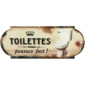 promobo plaque de porte wc panneau en m tal toilette humour poussez fort pas cher achat. Black Bedroom Furniture Sets. Home Design Ideas