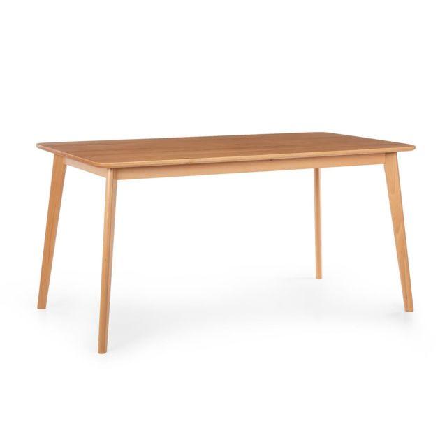 BESOA Svenson Table de salle à manger 150 x 75 x 80 cm - Construction solide - Bois de hêtre marron