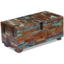 Maja+ - Coffre table basse Bois de récupération massif 80 x 40 x 35 cm