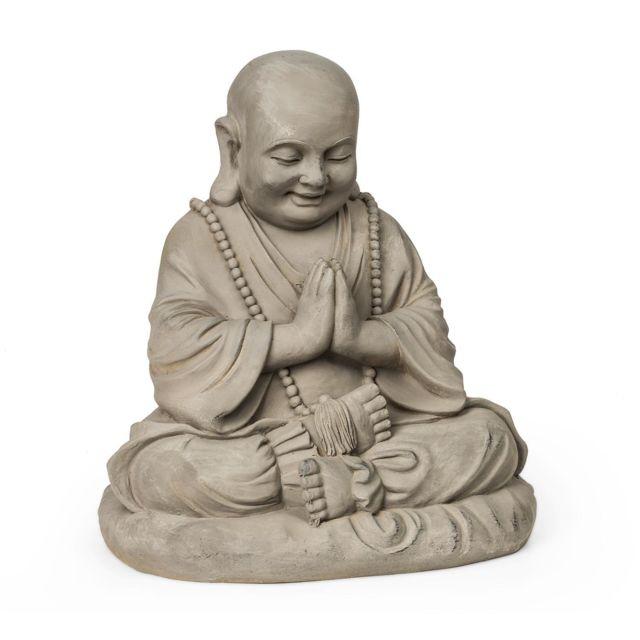 BLUMFELDT Anjali Statue décorative de jardin - Sculpture style zen 43 x 52 x 38 cm - Protection UV & antigel - Fibrociment marron