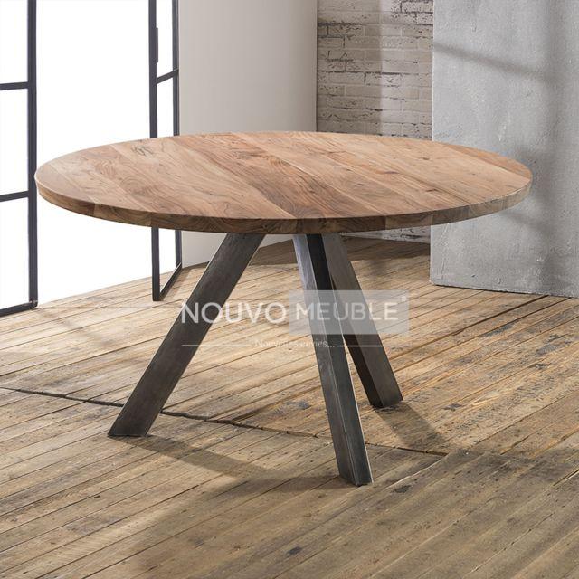 Nouvomeuble Table à manger ronde en bois massif Savana