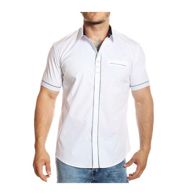 c894080cacb6 Carisma - Chemise manches courtes blanche coupe ajustée - pas cher Achat   Vente  Chemise homme - RueDuCommerce
