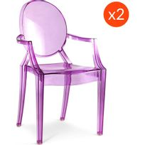 Privatefloor - Lot de 2 Fauteuils Louis Ghost Philippe S. Style Violet transparent