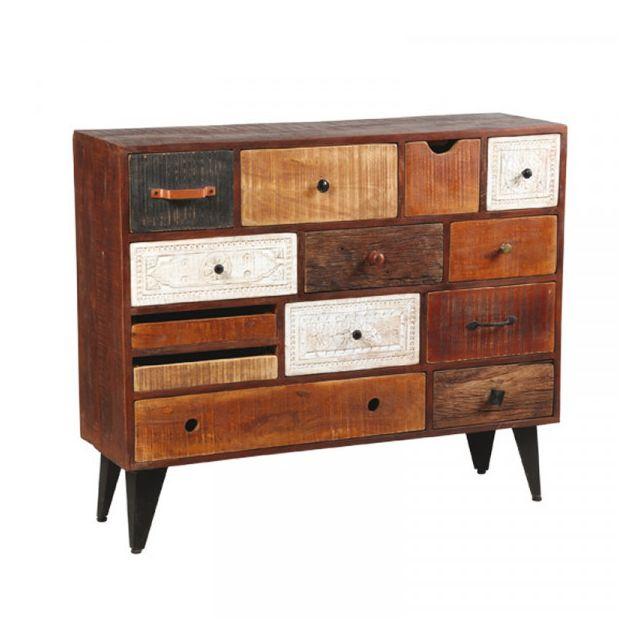 Dansmamaison Commode 13 tiroirs en bois de Palissandre - Verden - L 115 x l 35 x H 96 cm