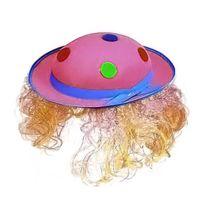 Festiveo - Chapeau Feutre Clown Rose avec Cheveux