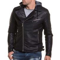BLZ Jeans - Blouson homme noir simili cuir effet perfecto