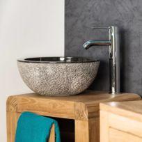 Wanda Collection - Lave mains en marbre à poser Stromboli noir 35cm