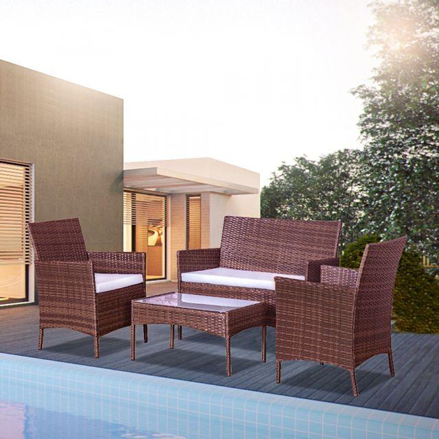 CONCEPT USINE - Mykonos marron et blanc : salon de jardin en résine ...