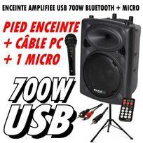 Ibiza Sound - Enceinte Amplifiee Slk12A-BT 700W Usb Bluetooth + Micro + Pied + CÂBLE Pc