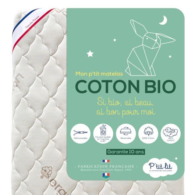 P'TIT Lit Matelas Bébé Coton Bio - 60x120 cm - 100% Coton : matière Naturelle d'origine Végétale - Sans traitement chimique - Dého