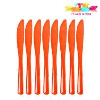 Vaisselle-jetable - 50 couteaux jetables plastique orange