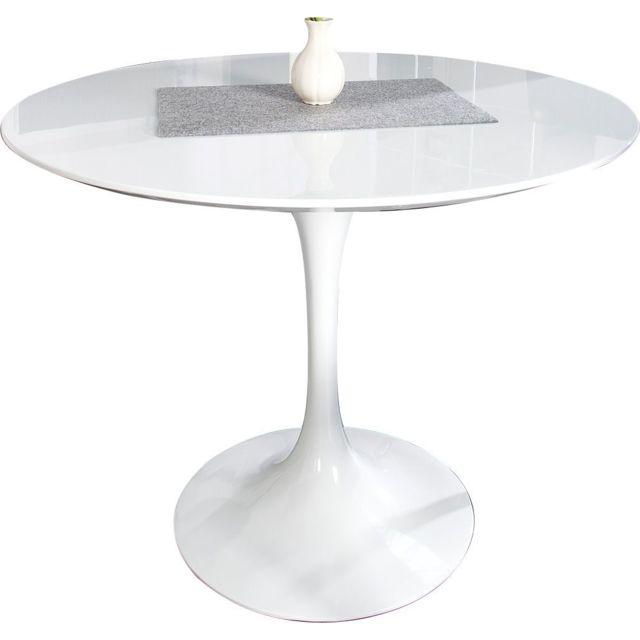 Comforium Table ronde design en fibre de verre coloris blanc laqué