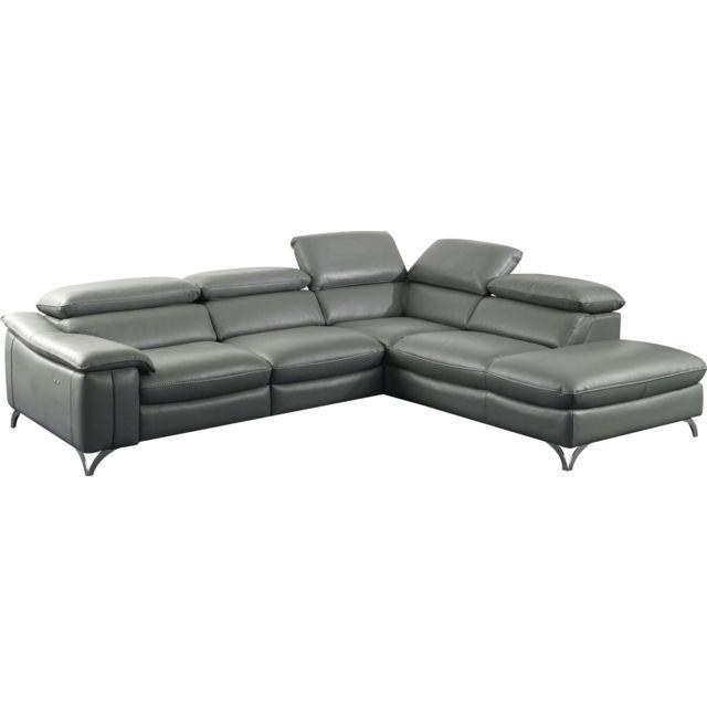 COMFORIUM Canapé d'angle relax électrique design avec méridienne droite en cuir véritable et pvc coloris gris C-Jewel