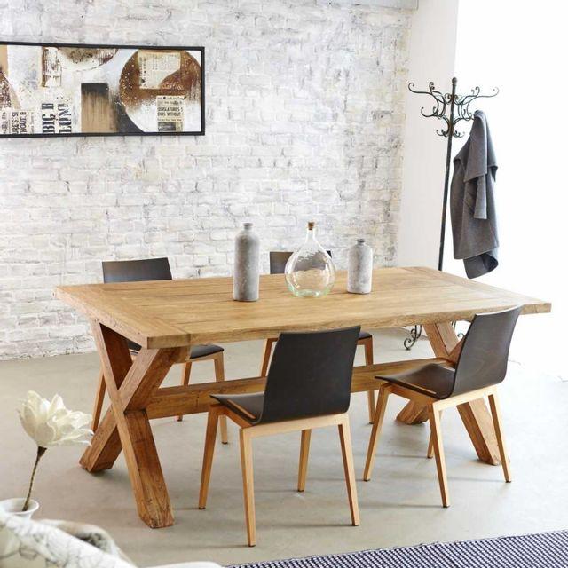 bois dessus bois dessous table en bois de teck recycl 6 8 couverts 100cm x 200cm x 77cm n. Black Bedroom Furniture Sets. Home Design Ideas