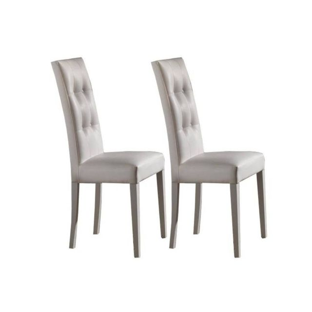 Inside 75 Lot de 2 Chaises design italienne Four Seasons en tissu enduit polyuréthane simili façon cuir blanc piétement blanc mat
