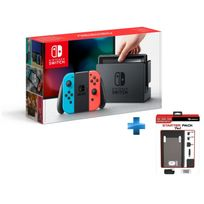 NINTENDO - Console Switch avec un Joy-Con rouge néon et un Joy-Con bleu néon + Starter pack Switch 7 in 1 - SWITCH
