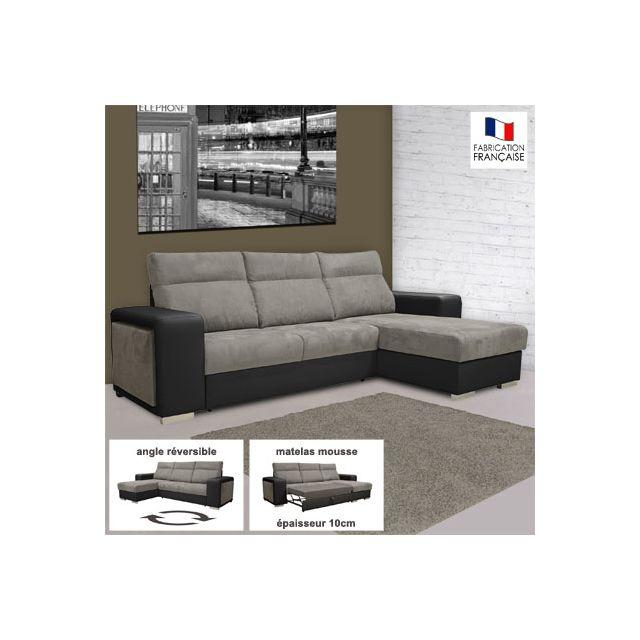 Canapé d'angle réversible convertible Pu-microfibre noir et gris