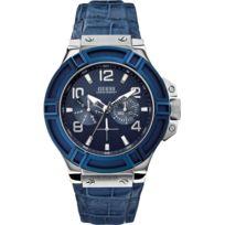 Guess - Montre - W0040G7 - Montre Homme - Quartz - Calendrier - Bracelet Cuir Bleu