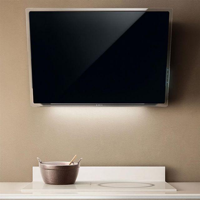 Elica Hotte cuisine murale Elle verre noir 80 cm