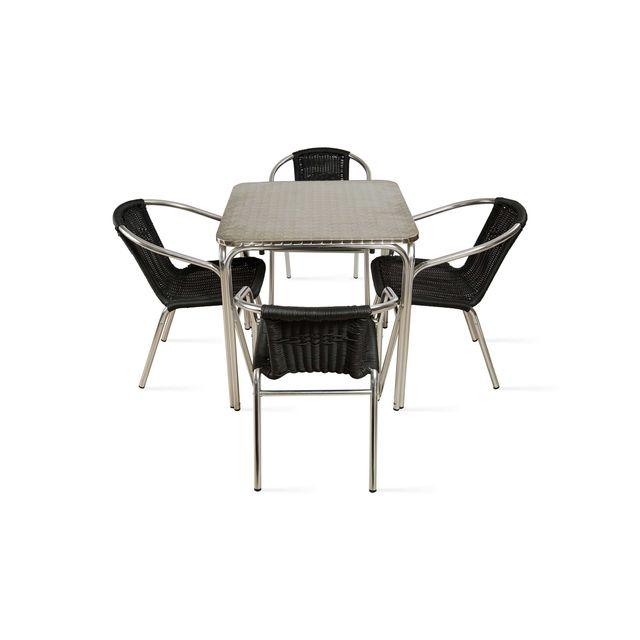 OVIALA - Table de jardin carrée en aluminium et 4 chaises ...