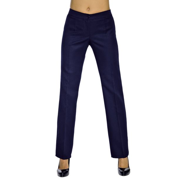 Isacco Pantalon Femme Bleu Marine Mi-Saison Coupe Droite