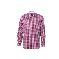 James   Nicholson - chemise manches longues carreaux vichy Homme Jn617 -  rouge bordeau ccc69d3cea23