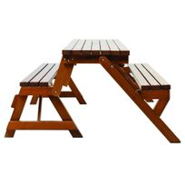 Habrita - Table forestière Hossegor pliable en banc en sapin