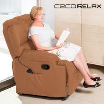 Sans Marque - Fauteuil De Relaxation Massant Cecorelax Camel 6005