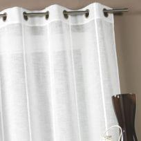 Home Maison - Voilage à œillets polyester etamine rayures verticales 140x260cm Narcisse