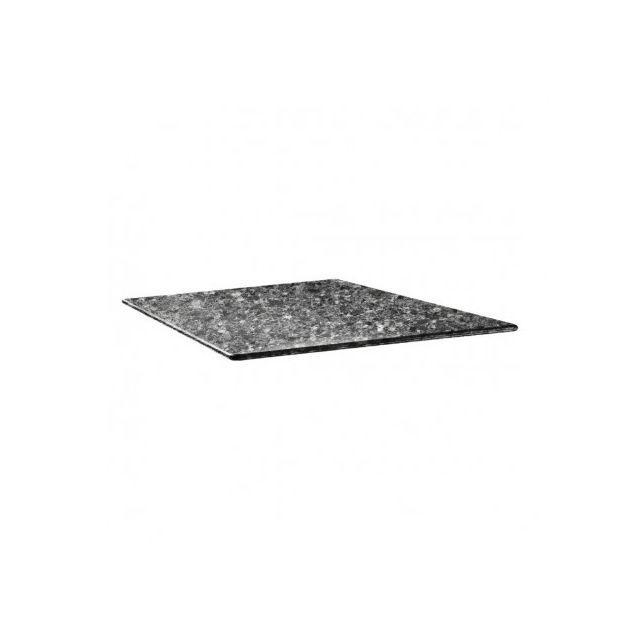 Topalit Plateau de table carré 700 mm - Smartline granite noir - Granite noir 700 mm
