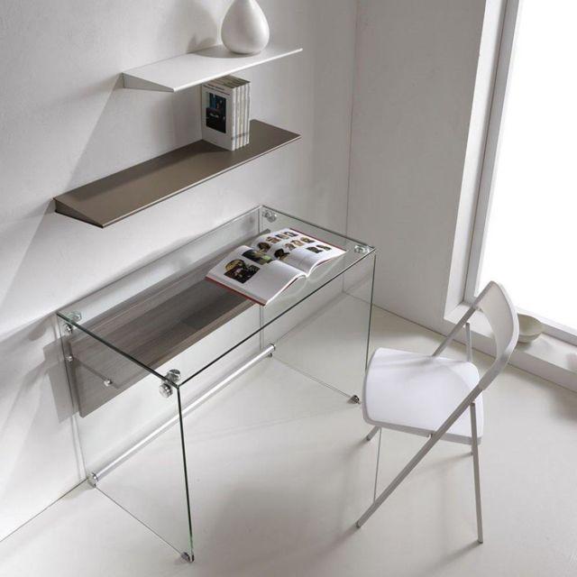 Inside 75 Bureau Charli Design En Verre Avec Une Etagere En Bois