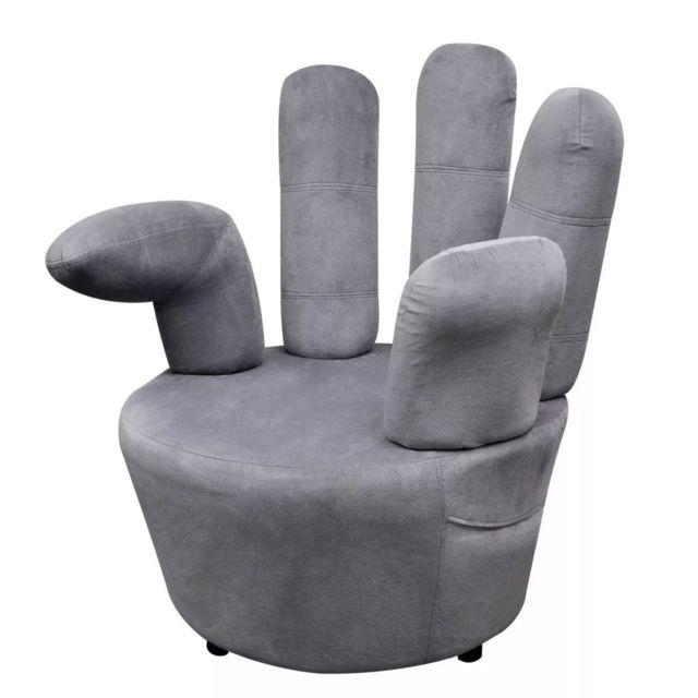 Vidaxl Fauteuil velours gris forme de main Fauteuil de salon Sofa velours