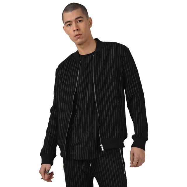 PROJECT X Bomber en daim à rayures tennis et bandes contrastantes Homme Paris, Taille: S, Couleur: Noir