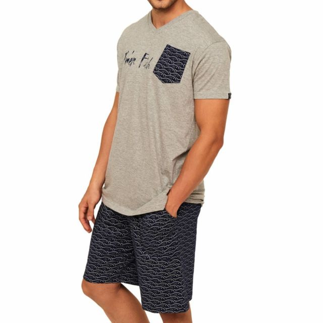 Chiné Coton Shirt Col Arthur Court En MélangéTee V Gris Pyjama 4A3RjL5